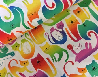 Colorful cats  fabric - cat fabric -  kitten fabric - material -sewing -supply -