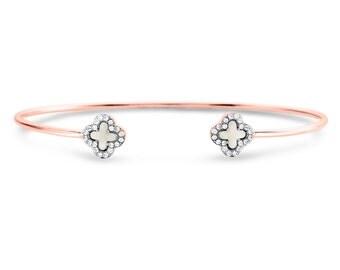 Skinny Open bracelet, CZ open bracelet, Sparkle open cuff bracelet, Rose gold open bracelet, Cubic zirconia cuff bracelet, Cuff bracelet