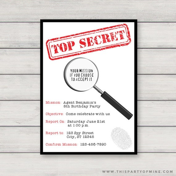 Spy invitation printable secret agent birthday party invitation il570xn stopboris Gallery