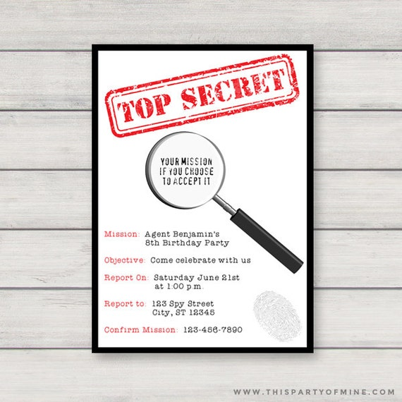 Spy invitation printable secret agent birthday party invitation il570xn stopboris Choice Image