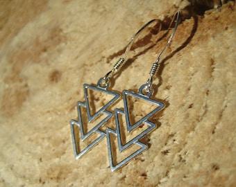 Sterling Silver Triple Arrow Triangle Geometric Earrings