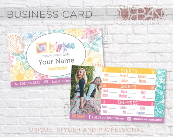 Custom lularoe business cards floral design by for Lularoe name cards