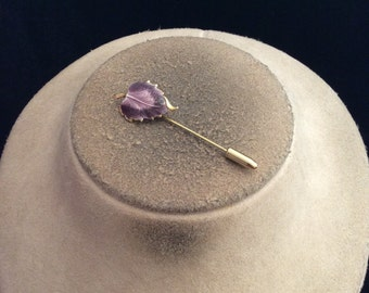 Vintage Shades Of Purple Enameled Leaf Stick Pin