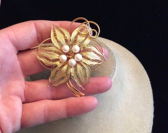 Vintage Large Goldtone Faux Pearls Floral Pin