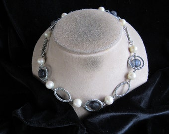 Vintage Blue Glass Beaded Faux Pearl Necklace