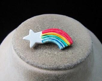 Vintage Hand Painted Ceramic Rainbow Pin