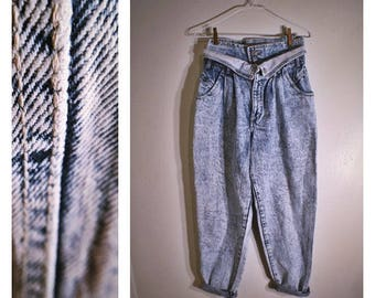 80s Gitano Express high-waisted heavy acid washed straight-legged jeans