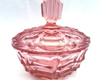 Art Deco Pink Glass Trinket Pot, Lidded Powder Jar, 1930's Dressing Table, Immaculate Condition, Wonderful Vintage Gift Available in 2 Sizes