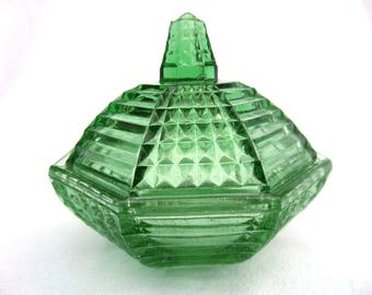 "Green Glass Trinket Pot, Reich 8884, 1930's Art Deco Czechoslovakian Pressed Glass, Excellent Condition 4"" x 4"" x 3.5"""