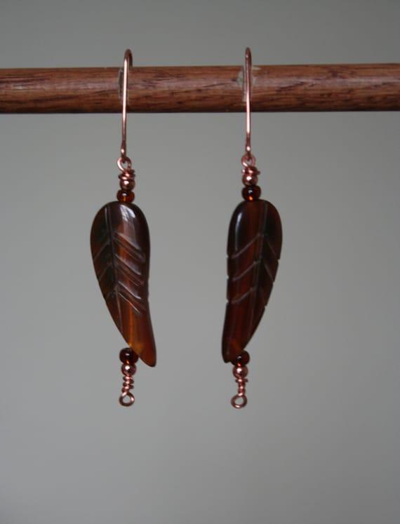 Copper Bone Leaf Earrings