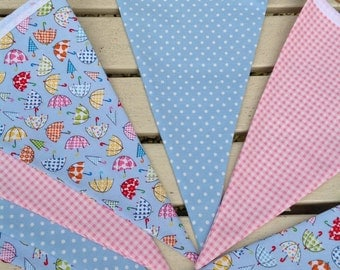 Umbrella fabric bunting, summer bunting,buntings, wedding, garden party bunting, umbrella,pink bunting handmade, party bunting, blue bunting