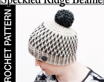 Crochet Hat Pattern - Speckled Ridge Hat Crochet Pattern - Crochet Pom Pom Hat Pattern- Crochet Beanie Pattern - Adult Sizes