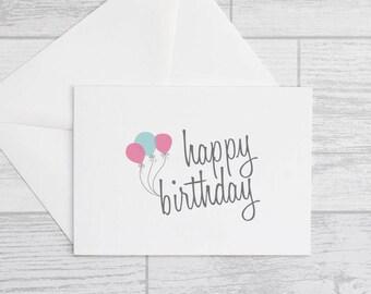 Happy Birthday Card - Quirky Balloon Card