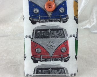 VW Volkswagen Camper Large Phone Glasses Case fabric elastic button Handmade in England