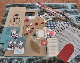Christmas Mini Scrapbooking Pack/journal/planner/craft kit/junk journal/30pieces/inspiration kit
