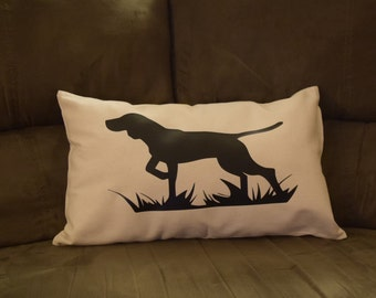Hunting Pointing Dog  Canvas Pillow Cover - Pointer Pillow - Cream pillow - white pillow - dog pillow - gsp - puppy pillow