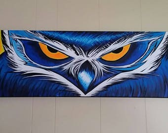 """12"""" X 36"""" Owl Painting acrylic on gallery canvas."""