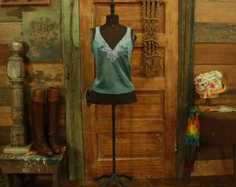 SALE vintage hand dyed teal camisole slip top lace details M L 36
