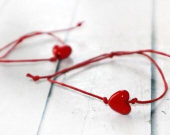 FREE SHIPPING! Mom Daughter Bracelet, Set of Red Bracelets, Friendship Bracelet, Couples Bracelets, Matching Bracelets, Family Bracelets