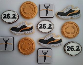 Marathon Cookies in Grey, Black, White & Gold - One Dozen Decorated Running / Runner Cookies