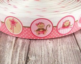 Monkey ribbon - It's a girl - Nursery ribbon - 3 or 5 yard lot - Ballerina ribbon - Tutu ribbon - Pink grosgrain - Ballet bow DIY - Ballet