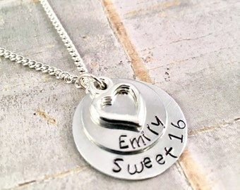 Sweet 16 Necklace, Personalized Heart Necklace, Sweet 16 charm, custom necklace, sweet 16 birthday, birthday necklace, hand stamped name