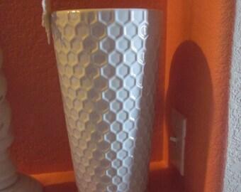 LARGE WHITE VASE Ceramic Honeycomb Pattern