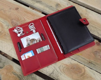 """Leather Portfolio iPad Pro 9.7"""" iPad Air iPad Mini Case\notepad cover\Leather Notepad Holder\a5 conference organiser\Cover notebook Moleskin"""