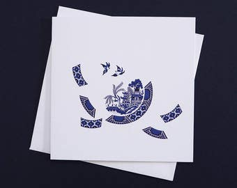 Blue Willow Deconstructed greetings card - a modern twist on the classic Blue Willow design, blue and white willow, breaking free, new start