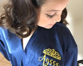Pageant Robe - Pageant Girl Robe - Satin Robe for Kids - Beauty Pageant Robe - Silk Robe - Personalized Satin Robe