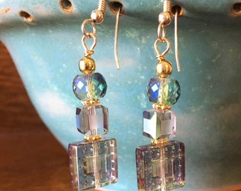 Chinese crystal earrings on gold French wires