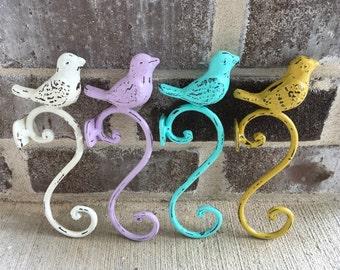 Cast Iron Bird Hook/Cast Iron Wall Hooks/Bird Country Cottage Decor/Wall Decor Hook/Bird Wall Hanger