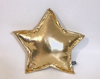 Gold Star Pillow, Metalic Star Cushion, Decorative Star, Nursery Decor, Baby Glitter Pillow, Room Decor, Kids Room Decor