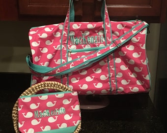Girls Whales Monogrammed Duffle and Accessory Bag