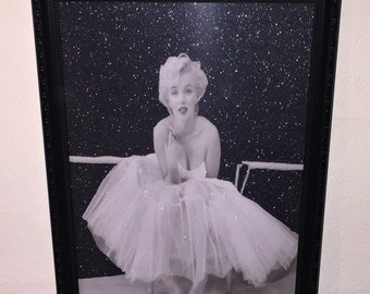 Marilyn Monroe black and white glitter Frame