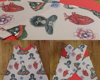 Eco cotton dress reversible Girl 1 Year