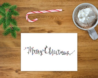 Merry Christmas Lights Card | Printable Christmas Card