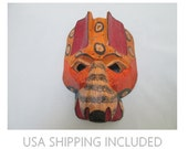 Guatemalan Jaguar Mask Hand Painted Wooden Folk Art