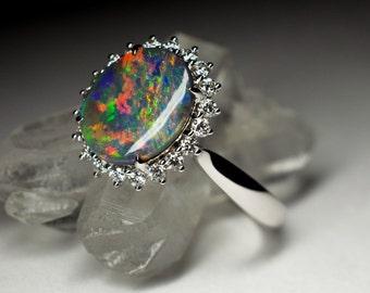 diamonds 18k gold black opal ring art 8898 white gold organic australian lightning ridge engagement - Black Opal Wedding Rings