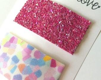 Confetti Snap Clip//Raspberry Glitter Snap Clip Set