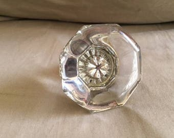 Vintage Antique Clear Glass Crystal Door Knob