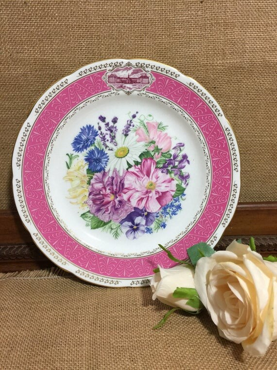 """RHS 1987 Chelsea Flower Show Fine Bone China Plate by WEDGWOOD - Chelsea Fragrance - 9"""" Decorative Plate - Vintage English Cabinet Plate"""