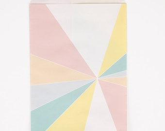 LARGE Pastel party favor bags.  6X9. Set of 10.  Pink, peach, lavender, blue, and yellow treat bags. Pastel prism paper favor bags.