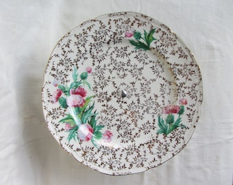 Vintage pedestal cake stand Gold chintz pink floral Staffordshire pottery plate chrome stand. 1940's. Tea party, wedding cake. cup cakes.