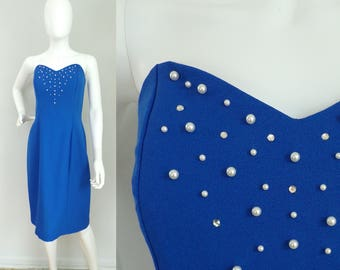 Vintage blue beaded formal strapless dress size small, blue dress, strapless dress, pearl beads, prom dress, formal dress, party dress