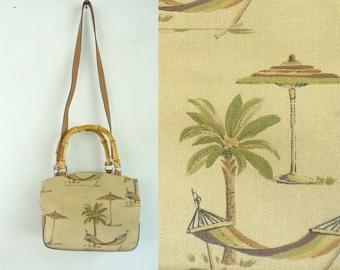 Vintage Relic Tan Beach Print Purse, Shoulder Bag, Top Handle Purse, Palm Trees, Hammocks, Summer Purse, Beach Print, Relic, Palm Tree Purse