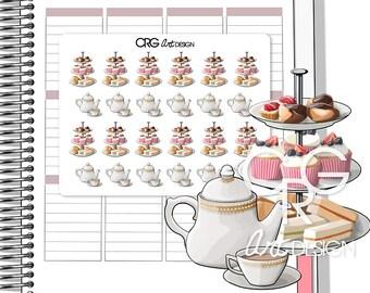 English Afternoon Tea Stickers | Planner Erin Condren Plum Planner Filofax Sticker