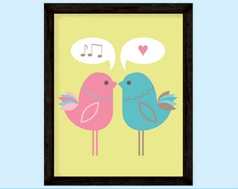 You make my heart sing 2 Love Birds graphic print in lime green pink and blue, INSTANT DOWNLOAD