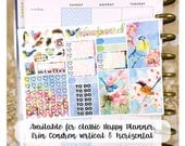Song Birds sampler stickers - for Happy Planner, Erin Condren Horizontal Planners -Popcorn spring summer watercolor floral
