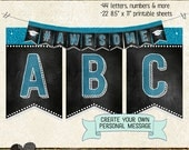 GRADUATION BANNER LETTERS, blue, numbers & extras, create personalized message, printable, instant download, bunting, garland, grad party